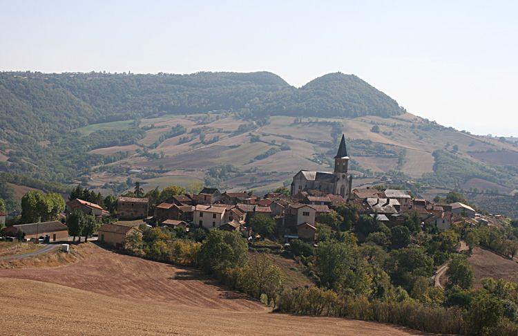 Voici le village de Melvieu avec toutes ses maisons blotties contre le clocher ....